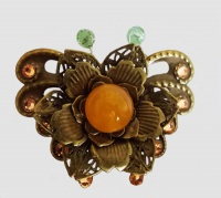 Antique Bronze Butterfly with Metal Flower (Yellow) Brooch