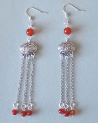 Chinese Metal Lock Earring (Red)