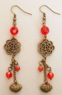 Flower and Chinese Lock Earrings (Red)