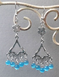 Bell and Flower Earrings (Aqua Blue)