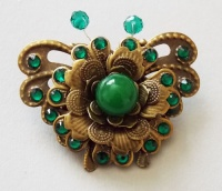Antique Bronze butterfly with Metal Flower (Green) Brooch