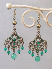 Antique Copper Wind Chime Earrings (Green)