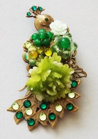 Antique Bronze Peacock with Green Peony Brooch