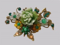 Antique Bronze Butterfly with Green Chrysanthemum Hair Pin