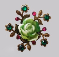 Antique bronze  Green Rose with Forget-me-not Hair Pin