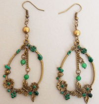 Blossom and Butterfly Ring Earrings (Green)