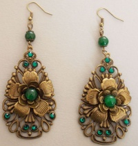Green Jade Flower and Fan Earrings