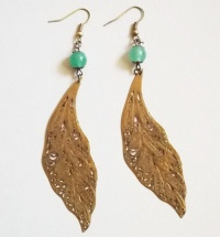 Antique Copper Leaf Earrings (Green Jade Bead)
