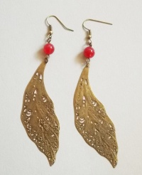 Antique Copper Leaf Earrings (Red Jade Bead)