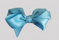 Sky Blue Double Side Satin Bow Hair Clip