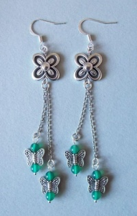 Clover and Butterflies Chain Earrings (Green)