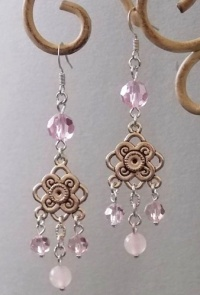 Metal Knots with Pink Jade Beads Earrings