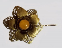 Orange Jade Bead Metal Flower Hair Clip