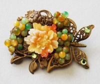 Antique Bronze Butterfly with Orange Peony Brooch