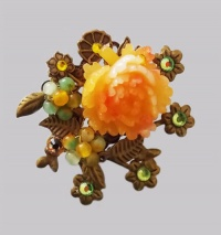 Antique Bronze Orange Peony with Forget-me-not Hair Pin
