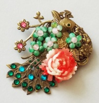 Antique Bronze Peacock with Pink Peony Brooch