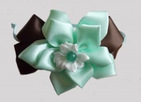 Pepper Mint Dahlia with Brown bows Headband