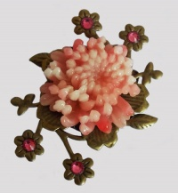 Antique Bronze Pink Chrysanthemum with Forget-me-not Brooch