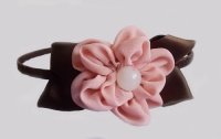 Peach Daisy with Brown Satin Leaves Headband