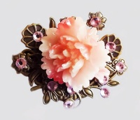 Antique Bronze Small Pink Peony Brooch