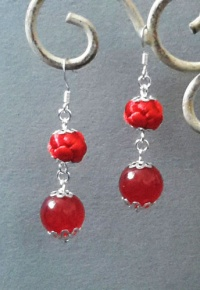 Exquisite Red Button Knot with Jade beads Earrings