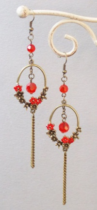 Plum Flower Ring Earrings (Red)