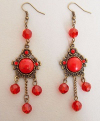 Red Stone Charms with Crystal Beads Earrings