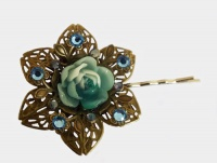 Antique Bronze Metal Flower (Blue Rose) Hair Clip