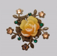 Antique Bronze Orange Rose with Forget-me-not Hair Pin