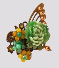 Antique Bronze Side Butterfly with Green Peony Hair Pin