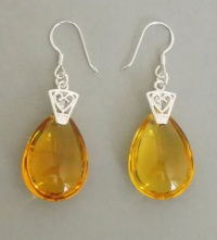 Orange Water Drop Sterling Silver Earrings